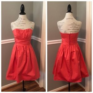 CORAL STRAPLESS COTTON FORMAL OR CASUAL DRESS